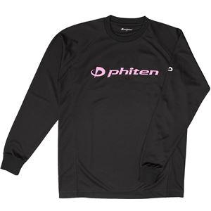 ファイテン(PHITEN) RAKUシャツSPORTS(吸汗速乾)長袖ブラック(ロゴ/ピンク)LL JG180006