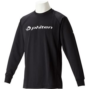 ファイテン(PHITEN) RAKUシャツSPORTS(吸汗速乾)長袖ブラック(ロゴ/銀)LL JG180106