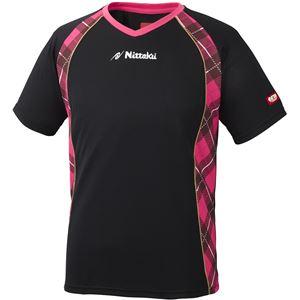 ニッタク(Nittaku) 男女兼用卓球ユニフォーム ユニ Vチェックスシャツ NW2171 ブラック×ピンク S