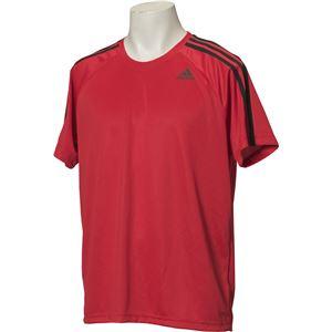 adidas(アディダス) D2M トレーニング3ストライプスTシャツ カラー:スカーレット サイズ:J/XS