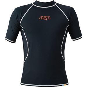 AQA(アクア) UVラッシュガード ショートメンズ(半袖) ブラック LLサイズ KW4600