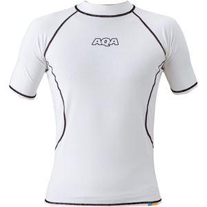AQA(アクア) UVラッシュガード ショートメンズ(半袖) ホワイト Lサイズ KW4600