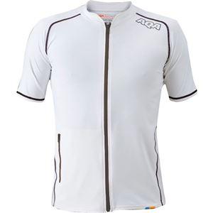 AQA(アクア) UVスイムジップ ラッシュガード ショートメンズ(半袖) ホワイト Lサイズ KW4602
