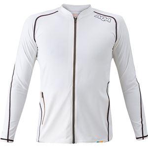 AQA(アクア) UVスイムジップ ラッシュガード ロングメンズ(長袖) ホワイト Lサイズ KW4603
