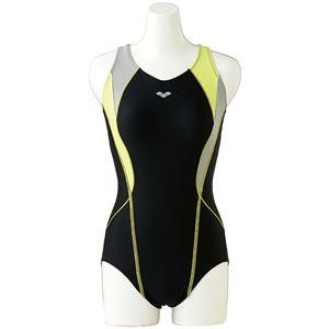 デサント ARENA(アリーナ) Water Exercise ワイドフローバック(ひっかけフィットパッド) FLA7712W ブラック×Lグレイ×Uグリーン Mサイズ