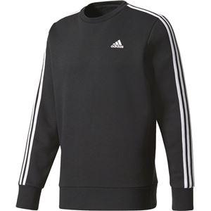 adidas(アディダス) M ESSENTIALS 3ストライプス クルーネックスウェット (裏起毛) DKQ26 ブラック×ホワイト J/L