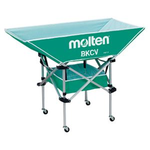 【モルテンMolten】折りたたみ式平型軽量ボールカゴ【背低グリーン】幅128×奥行63cmキャスターケース付き