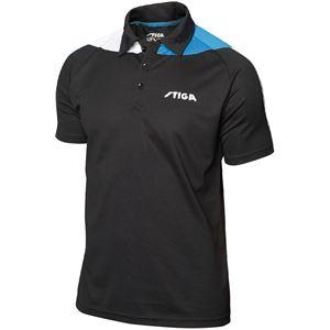 STIGA(スティガ) 卓球ユニフォーム PACIFIC SHIRT パシフィックシャツ ブラック×ブルー 4XS