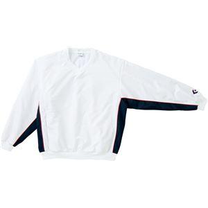 CONVERSE(コンバース) Vネックウォームアップジャケット ホワイト×ネイビー 3S