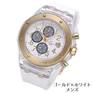 フォリフォリ 腕時計 クロノグラフ ラバー WT6P012ZEZ/ゴールド×ホワイト・メンズ