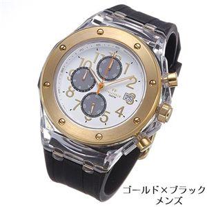 フォリフォリ 腕時計 クロノグラフ ラバー WT6P012ZEZ-BLK/ゴールド×ブラック・メンズ