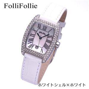 Folli Follie(フォリフォリ) パヴェ レザーウォッチ WF6A062SDW-WHT/ホワイトシェル×ホワイト - 拡大画像