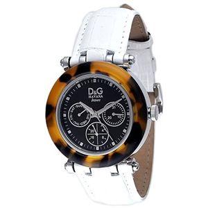 D&G ディーアンドジー 腕時計 DW0599 文字盤ブラック バンドホワイト - 拡大画像