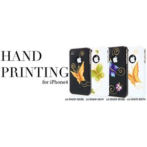 icover iPhone4用ケース HAND PRINTING AS-IP4HP-EB/W ホワイト1 (フルセット)