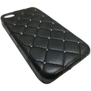 icover iPhone4用ケース SWAROVSKI LEATHER AS-IP4LE-SWBK ブラック (フルセット) - 拡大画像