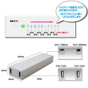 ルックイースト 大容量モバイル バッテリー ホワイト LE-UBT12K-WH - 拡大画像
