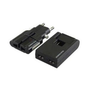 デバイスネット USB対応マルチ電源変換アダプター ゴーコンW2+スイングUSBタップ ブラック RW99BK-B - 拡大画像
