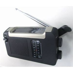 YAZAWA 手回し発電・ソーラー・USB充電式 電池が不要!AM/FMラジオ BL109RMSDBK - 拡大画像