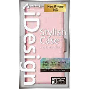 エアージェイ iPhone6(4.7inch) 手帳型シャイニーPUケース AC-P47-SHY PK h01
