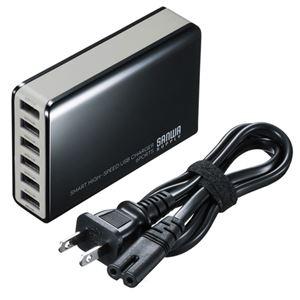サンワサプライ 6ポートUSB充電器 ACA-IP40BK - 拡大画像