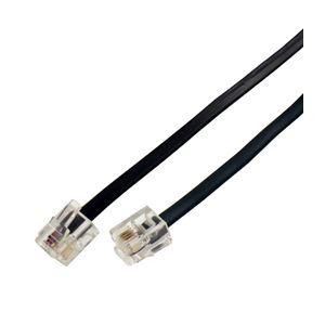 (まとめ)ミヨシ(MCO)6極4芯モジュラ-ケーブル 黒 2m TC-402BK【×20セット】