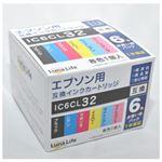 (まとめ)ワールドビジネスサプライ 【Luna Life】 エプソン用 互換インクカートリッジ IC6CL32 6本パック LN EP32/6P【×3セット】