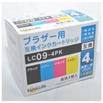 (まとめ)ワールドビジネスサプライ 【Luna Life】 ブラザー用 互換インクカートリッジ LC09-4PK 4本パック LN BR9/4P【×3セット】
