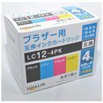 (まとめ)ワールドビジネスサプライ 【Luna Life】 ブラザー用 互換インクカートリッジ LC12-4PK 4本パック LN BR12/4P【×3セット】