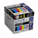 (まとめ)ワールドビジネスサプライ 【Luna Life】 エプソン用 互換インクカートリッジ IC6CL50 ブラック1本おまけ付き 7本パック LN EP50/6P BK+1【×3セット】
