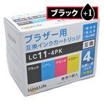 (まとめ)ワールドビジネスサプライ 【Luna Life】 ブラザー用 互換インクカートリッジ LC11-4PK ブラック1本おまけ付き 5本パック LN BR11/4P BK+1【×3セット】