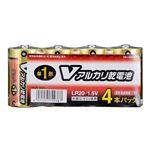 (まとめ)オーム電機 アルカリ乾電池 Vシリーズ 単1形×4本パック LR20S4PV LR20S4PV【×5セット】
