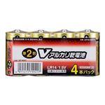 (まとめ)オーム電機 アルカリ乾電池 Vシリーズ 単2形×4本パック LR14S4PV LR14S4PV【×10セット】