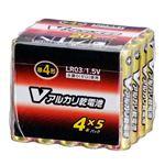 (まとめ)オーム電機 アルカリ乾電池 Vシリーズ 単4形×20本パック LR03S20PV LR03S20PV【×5セット】