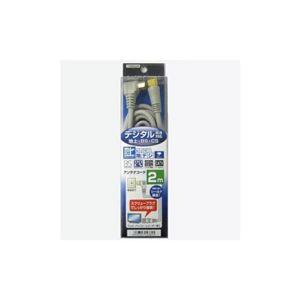 (まとめ)YAZAWA 地デジ対応アンテナコード片側接栓2m S4CFL020SS【×5セット】