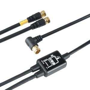 (まとめ)HORIC アンテナ分波器 ケーブル一体型 2m/50cm ブラック AP-SP021BK【×5セット】