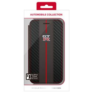 NISSAN 公式ライセンス品 GT-R CARBON LEATHER BOOK TYPE CASE iPhone6 PLUS用 NR-P55B1BK h01
