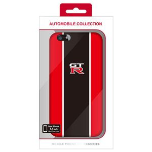 (まとめ)NISSAN 公式ライセンス品 GT-R STRIPE HARD CASE RED iPhone6 PLUS用 NR-P55S2RD【×2セット】 h01
