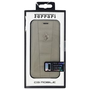 FERRARI 公式ライセンス品 458 Dark Gray Leather Booktype Case iPhone6 用 FE458FLBKP6GR h01