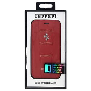 FERRARI 公式ライセンス品 458 Red Leather with Beige Stitchings Booktype Case iPhone6 用 FE458FLBKP6REBf01