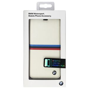 BMW 公式ライセンス品 Booktype case Tricolor stripes White iPhone6 PLUS用 BMFLBKP6LSBW h01