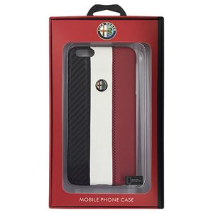 Alfa Romeo 公式ライセンス品 High Quality Carbon Synthettic Leather back cover White iPhone6 PLUS用 AR-HCIP6P-4C/D5-WE