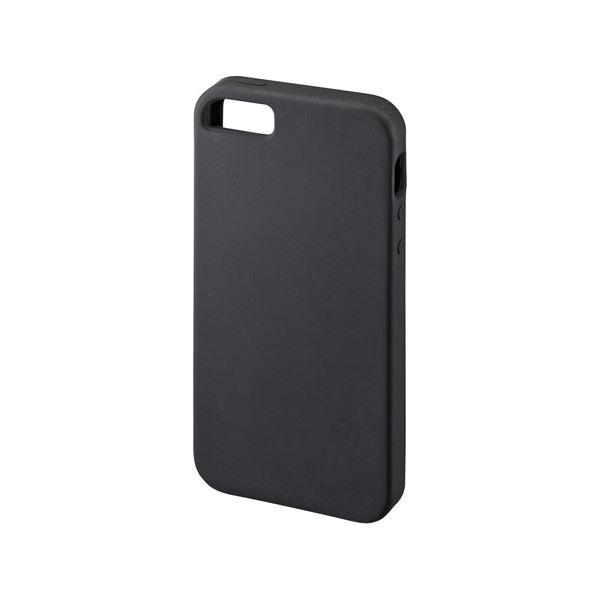 (まとめ)サンワサプライ シリコンケース(iPhone SE) PDA-IPH011BK【×5セット】f00