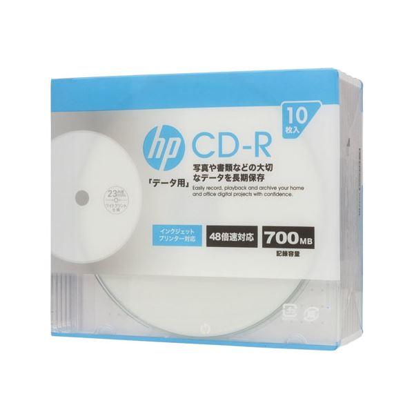 (まとめ)hp CD-R インクジェットプリンター対応ホワイトワイドレーベル(内径23mm) スリム(Slim) 10枚 CDR80CHPW10A【×10セット】f00