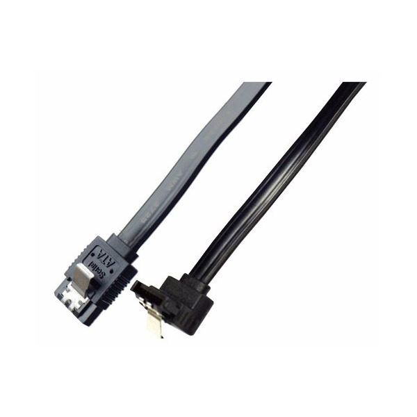 (まとめ)ミヨシ 6Gbps対応SATA3.0ケーブル 逆L型コネクタ 100cm ブラック JST-6G10/BK【×10セット】f00