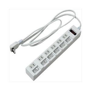 (まとめ)YAZAWA 個別集中スイッチ付節電タップ Y02BKS672WH【×2セット】 h01