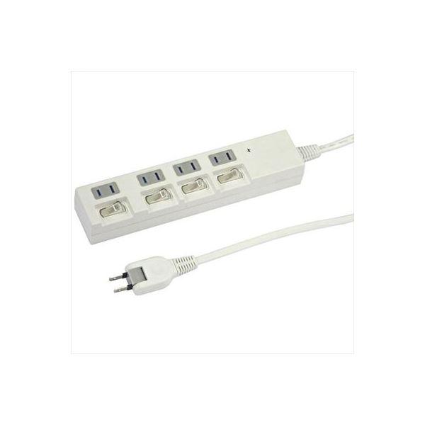 (まとめ)YAZAWA 個別スイッチ付節電タップ Y02BKS443WH【×3セット】f00
