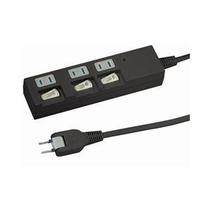 (まとめ)YAZAWA 個別スイッチ付節電タップ Y02BKS333BK【×3セット】