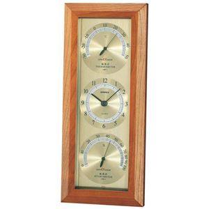 (まとめ)EMPEXスーパーEX温度・時計・湿度計EX-741ゴールド【×2セット】