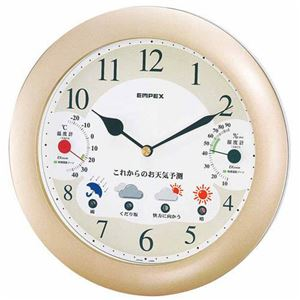 EMPEX掛け時計ウォールクロックウェザーパル1台4役BW-5238シャンパンゴールド