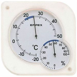EMPEX温度・湿度計シュクレmidi置き掛け兼用TM-5601クリアホワイト
